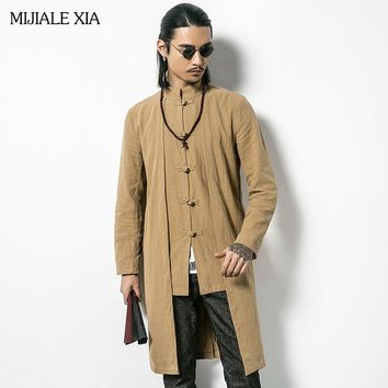 New Autumn Plus Size Trench Coat Men Style Flax long trench Coat High Quality Chinese style casual men's Clothing