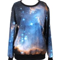 Pandolah Neon Galaxy Cosmic Colorful Patterns Print Sweatshirt Tees (Free size, Dim blue)