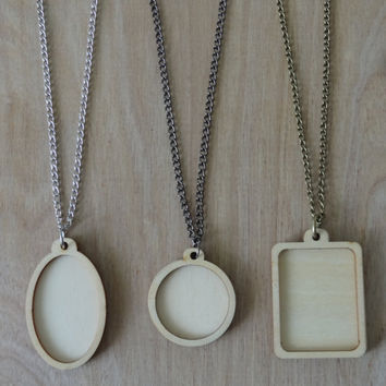 3 Pack of Mini Embroidery Hoop Pendant. Any three on any chain choice.