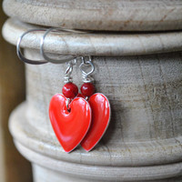 Valentine Heart Earrings, Red Enamel Heart Drop Earrings