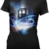 Doctor Who Tardis in Space Junior's T-Shirt, Black, Medium