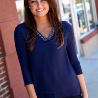 Navy + Studs Blouse