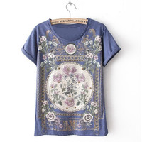 Floral Print Roll-Up Sleeve T-Shirt