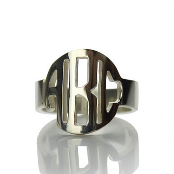 Circle Block Monogram Ring Personalized 925 Sterling Silver 3Initials Monogrammed Name Ring Name Jewelry Christmas Gift