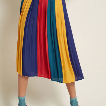 Pleated Chiffon Midi Skirt in Colorblock
