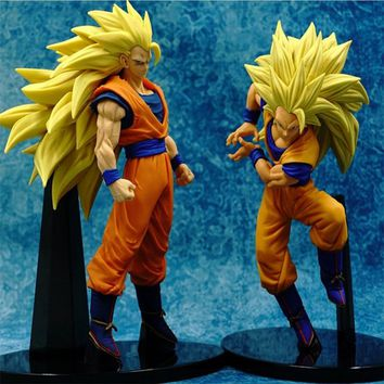 Zero Dragon Ball Z Son Goku Wave Standing Super SaiYan 3 PVC Action Figure DBZ Chocolate Brush Saiyan Blood Collection 18cm