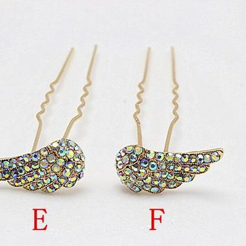 10pcs Rhinestone Popular Hairpin Brides  Wings Hair Pins Clips Crystal Hair Combs Bridesmaid  Jewelry  Accessories 262-45
