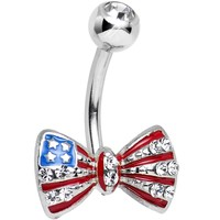 Clear Gem American Flag Bow Tie Belly Ring
