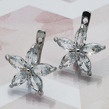 Rhodium Layered Women Flower Leverback Earring, with White Cubic Zirconia, by Folks Jewelry