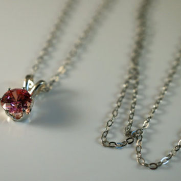 1 Carat Swarovski Gems Cubic Zirconia Fancy Pink Sterling Silver Pendant and Palladium Chain Necklace