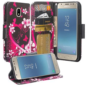 Samsung Galaxy J3 (2018) Case, Express Prime 3 Wallet Case,SM-J337A Wallet Cases, Wrist Strap Pu Leather Wallet Case [Kickstand] with ID & Credit Card Slots - Heart Butterflies
