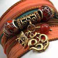 Hand Dyed Silk Wrap Bracelet - Autumn Sunset with Cloisonne Rondelles, Antique Om, Indian Elephant and Carnelian Beads