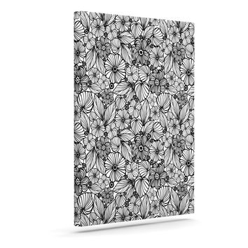 "Julia Grifol ""Candy Flowers In Black"" Gray White Canvas Art"