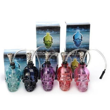 6 Colors Skull Head Glass Bong Popular Glass Hookah Pipe Durable Mini Shisha Tobacco Smoking Cheap Water Pipe Unique Design Whole
