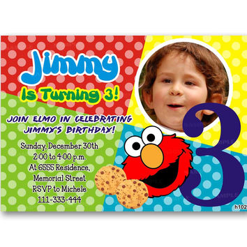 Baby Elmo Sesame Street Polka Dot Colorful Birthday Invitation Party Design