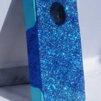 Custom Glitter Case Otterbox for iPhone 4/4S Marine Blue/Teal