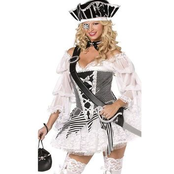 ONETOW Halloween Pirate Women's Fashion Indian White Costume [8979039943]