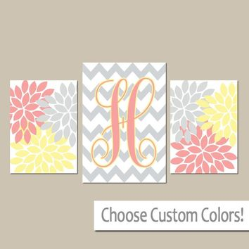 YELLOW CORAL Gray Nursery Wall Art, CANVAS or Prints, Personalized Monogram, Baby Girl Nursery Wall Art, Set of 3 Above Crib Decor Art