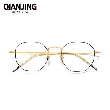 Pure titanium polygon retro glasses frames female irregular octagonal myopia frames women with fine color matching myopia men
