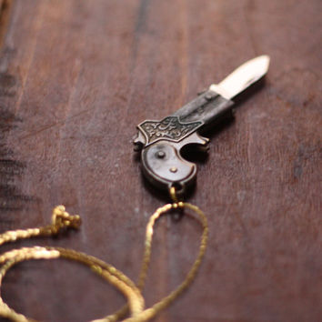 Vintage Brass Derringer Handgun Gun Pocket Knife Necklace
