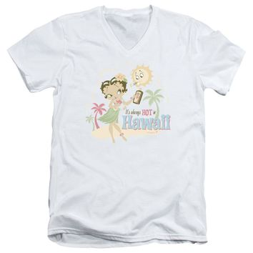 Betty Boop - Hot In Hawaii Short Sleeve Adult V Neck