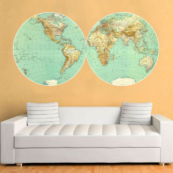 Retro Map - Retro Vintage World Map Wall Sticker - Also avaiable as a poster.