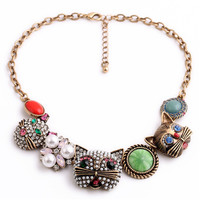 Brand Fashion vintage Crystal Choker Cartoon Cat Pendant-Necklaces Charm Jewelry