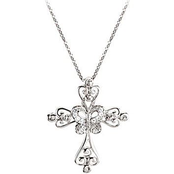Sterling Silver Inspirational Blessings Cross Necklace