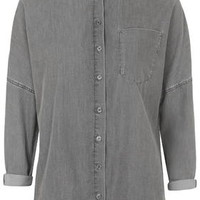 Batwing Cotton Shirt by Boutique - Charcoal