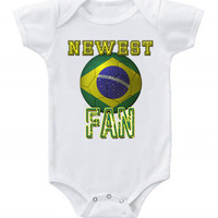 NEW Cute Soccer Baby Bodysuits Onesuit Brazil Team Football One Piece