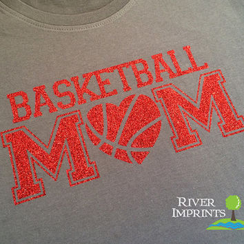 BASKETBALL MOM heart cursive, sparkly glitter t-shirt with your choice of color-- fitted, regular, or long sleeve