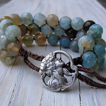 Boho Style Beaded Cuff Blue and Brown Crab Agate by UrbanCorner
