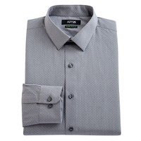 Apt. 9 Extra-Slim Fit Silver Scribble-Striped Spread-Collar Dress Shirt - Men, Size: