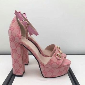 GUCCI : Fashion Women Princess High Heels Print Pump Shoes B104474-1 Pink
