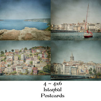 Set of 4 4x6 Istanbul Bosphourus Postcards Turkey Souvenirs Home Decor Ideas Wall Art Cards Travel Photography Nautical
