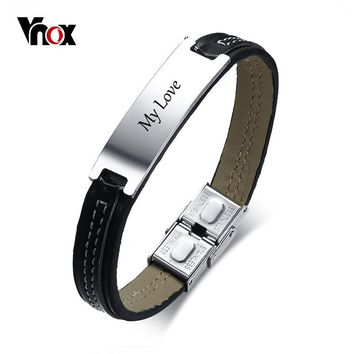 Vnox 11mm Black Leather Bracelet For Men ID Bangle Stainless Steel Identification Personalized Male Jewelry