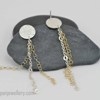 Sterling silver earrings with sterling + 14K yellow gold filled chain dangles, texture, stud, fun, flirty, gift for her, shiny, handmade