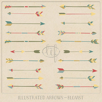 Arrows Clip Art Set 2 Hand Drawn red, green, yellow, beige, tribal arrow clipart for logo and other graphic design, invitations etc.