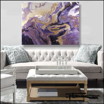 Original Abstract Painting - Violet Infusion - Resin coated 48 x 36 ELOISExxx