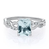 Aquamarine & Lab-Created White Sapphire Ring in Sterling Silver - March - Birthstones - Jewelry - Helzberg Diamonds