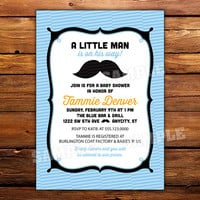 Mustache Baby Shower Invitation -- 5x7 printed on cardstock -- available in any color, single or double sided