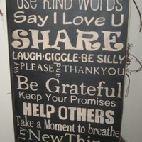 Family Rules Wooden Primitive Sign | primitivetreellc - Folk Art & Primitives on ArtFire