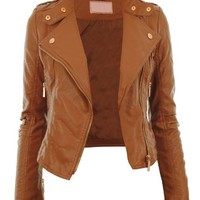 Diana New Womens Faux Leather Biker Gold or Metal Button Zip Crop Ladies Jacket Coat:Amazon.co.uk:Clothing