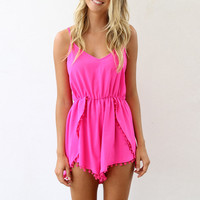 Spaghetti Straps V-neck Pom Pom Pleated Rompers