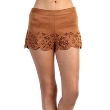 Cherokee Faux Suede Shorts - Camel