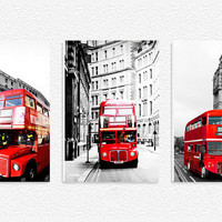 London Double Decker Red Bus Europe Wall Art Fiberboard Print Canvas 3 Panel Set