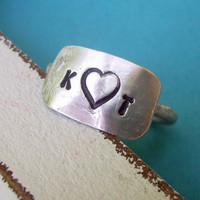 Love Letters - Hand Stamped Symbol or Initial(s) Personalized custom Sterling Silver Skinny Ring