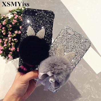 XSMYiss For iPhone 6 6S 7 8 Plus X Luxury Glitter Fashion Bling Ear Cute Tail Bow Rabbit Fur Ball hard Phone case Back Cover
