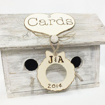 Christmas Wedding Gift Card Holder Birdhouse Card Box Reclaimed Whitewashed Wood Personalized Gift For Bride And Groom Rustic Wedding Decor