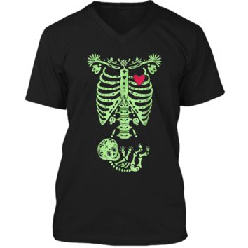 Pregnancy Halloween Costume Mexican Day Of The Dead  Mens Printed V-Neck T